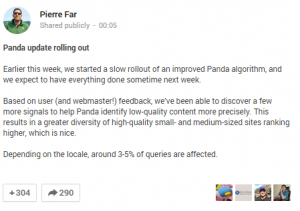 Panda update from Pierre Far